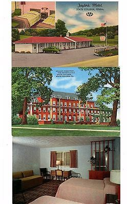 STATE COLLEGE PA - 6 Different MOTEL POSTCARDS & - TAYLORS, GRANGE DORMITORY etc