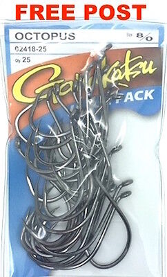 Gamakatsu Octopus Fishing Hooks - Size 8/0 Value Pack of 25 - FREE POST