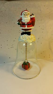 Glass Christmas Santa Bell Ornament Real Good Condition, See Pictures.  Lot#121