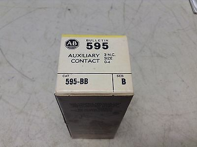 Allen Bradley 595-BB Auxiliary Contact 2 N.C. Size 0-4 595 595BB New