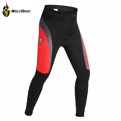 Men Cycling Thermal Tight Pants Winter 3D Padded Trousers Red Waist 30-32 inch