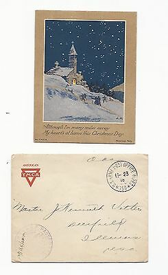 World War One France AEF Censor stamp Envelope Christmas Card Church Soldiers