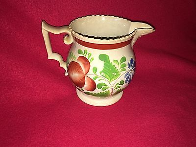 Staffordshire Floral Decorated Pitcher Woods Rose Pattern Ca. 1830