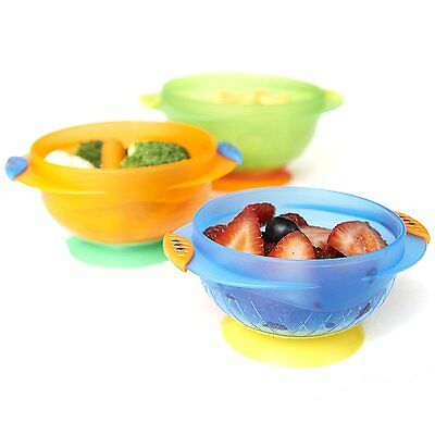 Munchkin Stay Put Suction Bowl  Kid 3 Count Imported Colorful Self Feeding Baby