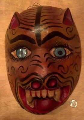 Wooden Roaring Jaguar Mask Mexico Traditional Big Cat Wood colorful, well done