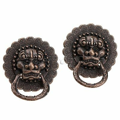 2pcs Antique Copper Jewelry Box Door Lion Head Ring Pull Handle Drawer Knobs