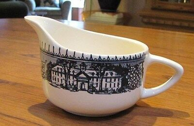 Vintage Blue and White creamer cup Made in USA School Mansion Dogwood leaves