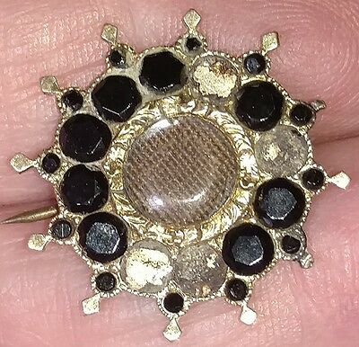 Vintage Mourning Brooch - Victorian-Woven Hair- Onyx or Jett -Gold Plated - MB9