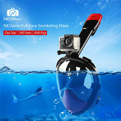 NEW S/M Full Face Anti-Fog Goggles Snorkeling Diving Mask Easy Breath for GoPro