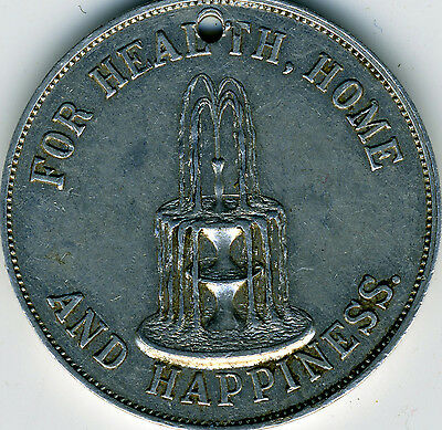 Temperance Fountain Temperance Medal Band of Hope Pledge 1890s Choice XF Rare!