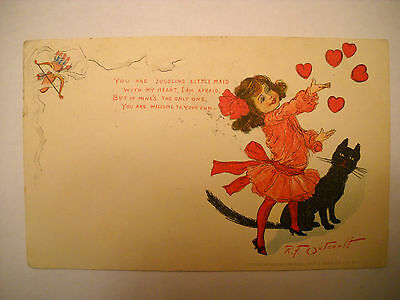 VALENTINE GREETING 1903 antique used TUCK postcard CHROMO blk cat by OUTCAULT