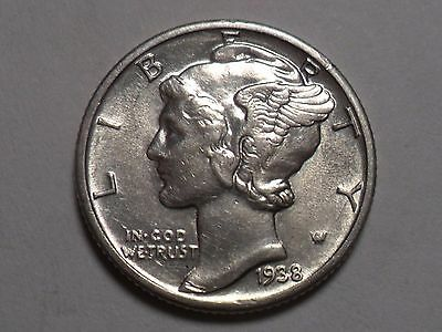 1938-P  Nice 90% Silver Better Date Winged Liberty Head Mercury Dime!!!!
