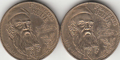 France 10 FRANCS 1984 ~ Francois Rude ~ Lot of two coins