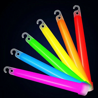 5pcs 6' Glow Sticks With Hook Lanyard Camping Light Stick Concert Party Ceremony