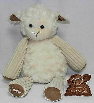 Scentsy Buddy Lenny the Lamb with Cinnamon Clove Scent Pack EUC 2010-2011