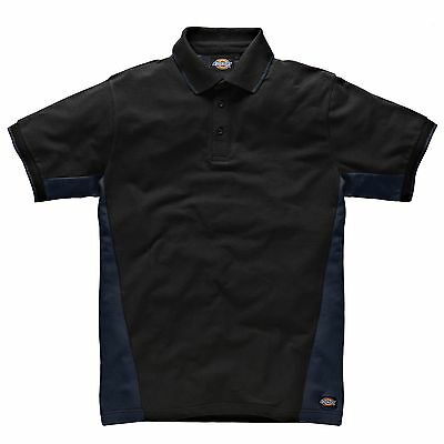 Dickies Two Tone Cotton Mechanics Polo Shirt Navy Blue / Black - Small (S)