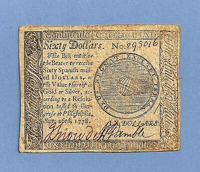 1778 $ 60 Continental Currency Extra Fine Grade Large Denomination Note