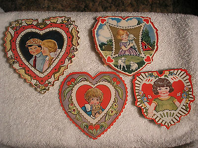 Lot of 4 Heart Shaped Vintage Lamb, Kitty, Scalloped Edge Valentine Cards