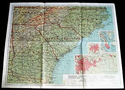 The National Geographic Society Map North & South Carolina Georgia 1926 Vintage
