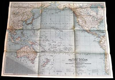 National Geographic Map Theater Of War In The Pacific Ocean 1942 Wwii Vintage