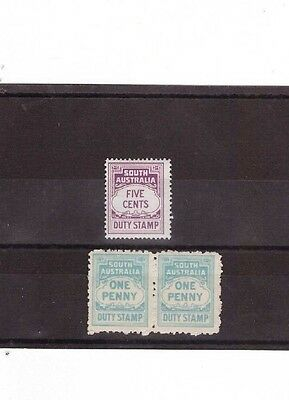 South Australia 1d & 5c DUTY STAMPS ( 3 Stamps )
