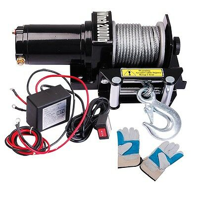 2000lbs Recovery Electric Winch Trcuk ATV Trailer Rope Cable Wireless Remote 12V