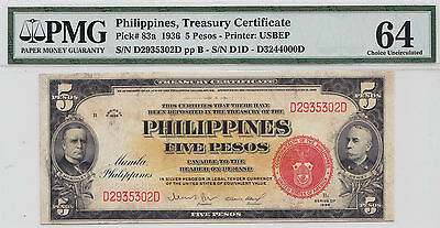 US/PHILIPPINES 1936 5 Pesos p83a PMG CU 64 USBEP ~CPPM~