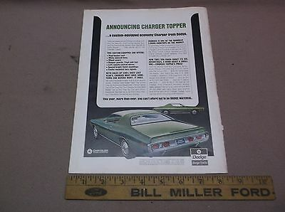 1971 Dodge Charger Topper Original Print Ad, Good Condition, Nr
