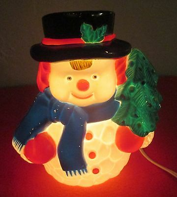 """""""VINTAGE WORKING"""" NOMA LIGHTED SNOWMAN in Original BOX Blow Mold 8"""""""