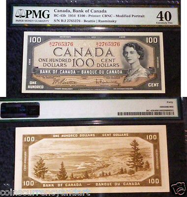 1954 $100  Bank Of Canada PMG 40