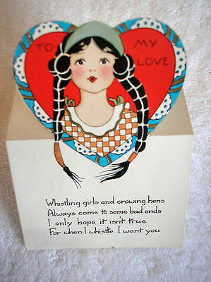 Vintage Beautiful Braided Hair Girl To My Love Valentine Card