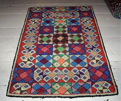 "Large Antique Handmade Geometric Primitive Wool Hooked Rug 52"" X 33"""
