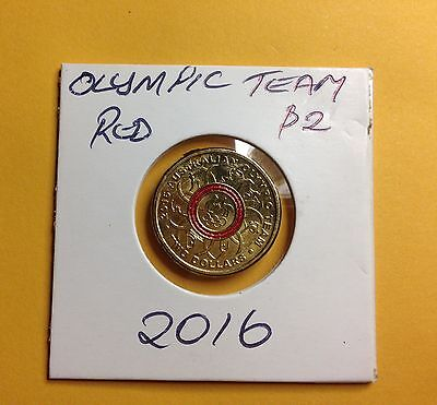 2016  $2 Australian Olympic Team Red Coin in  2x2 Holder