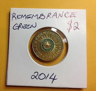 2014  $2 Australian Remembrance  Coin in  2x2 Holder