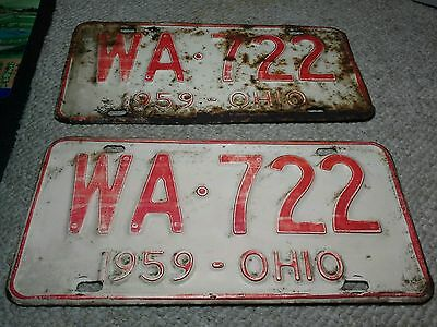 1959 Ohio Automobile Car License Plates WA 722