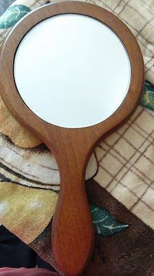 Three Hand Held Mirrors: 1 With A Wooden Handle. 2 Vintage Metal Handles,