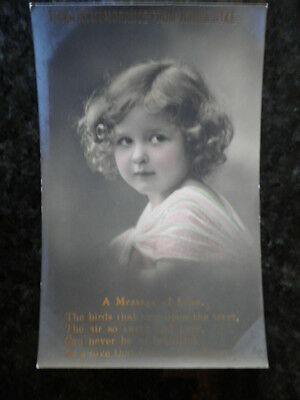 Antique Postcard Of Young Girl