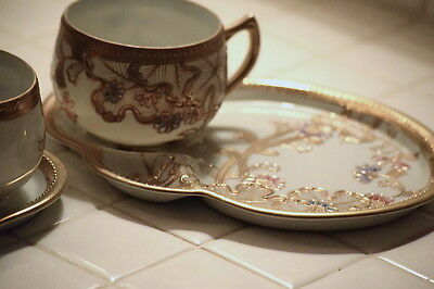 Handpainted Made in Japan - Snack Trays and Saucers - Ornate with Gold Trim