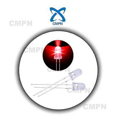 100pcs 5mm Dip Water Clear Round Top Red Color Bright Light Lamp LED Diodes