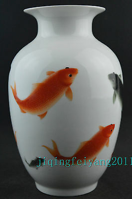 Chinese collectable porcelain handwork painting vivid goldfish noble big vase