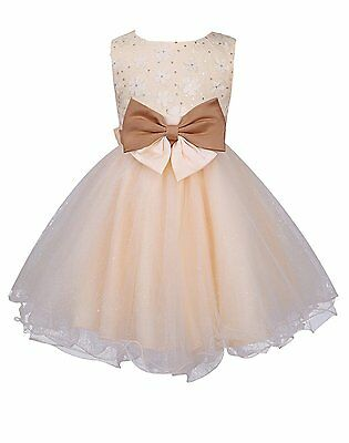 Girls Flower Wedding Party Dress With Bow Champagne 3-4 Years