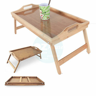 Bamboo Fold up Serving Tray Laptop Bed Tea Coffee Table Wooden