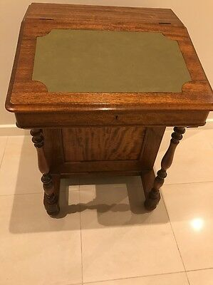 Supurb Antique Style Mahogany Carved Davenport Writing Desk With 4 Side Drawers
