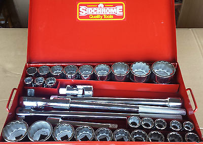 Sidchrome 32 Piece 3/4 Inch Drive Socket Set Metric & A/f Sizes As New