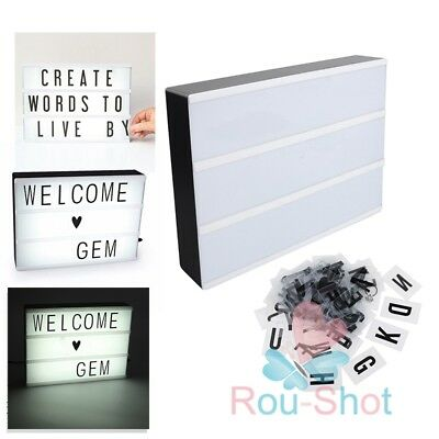A4 Light box Display Sign Board Cinematic Includes Letter Numbers Home Decor【AU】
