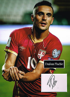 Dusan TADIC SIGNED Autograph 16x12 Photo Mount AFTAL COA SERBIA