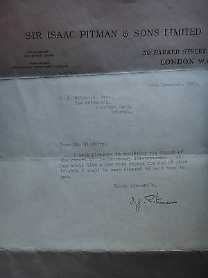 Sir Isaac Pitman signed letter / autograph