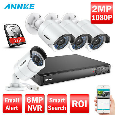 ANNKE 8CH 6MP NVR 1080P Security IP Camera Network POE System HDMI 1TB HDD Video
