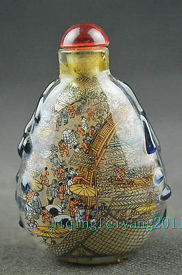 Chinese glass handwork internal painting city of cathay noble snuff bottle