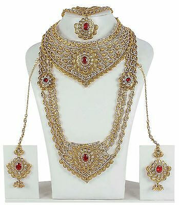 Indian Bollywood Ruby Fashion Gold Plated Bridal Jewelry Necklace Set 11108